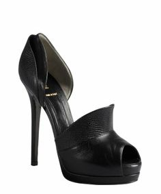 style #326064801 black embossed leather platform pumps