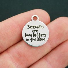 Seashells Stainless Steel Charm - Seashells are Love Letters in the Sand - Exclusive Line - Quantity Options - BFS578 by BohemianFindings on Etsy https://www.etsy.com/listing/267058740/seashells-stainless-steel-charm