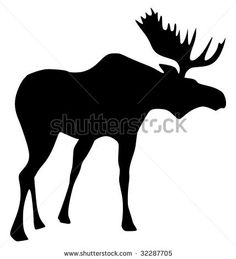 Free Silhouette Patterns | Silhouette Of Moose Stock Vector 32287705 : Shutterstock