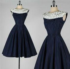 Vintage navy and white with polka dots