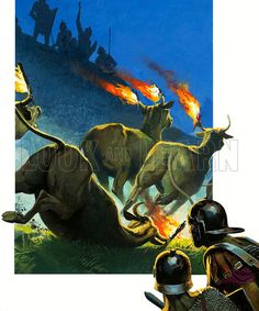 Clash of Giants: Rome's Darkest Hour. Fabius believed he had Hannibal cornered but the Carthaginian attached torches to stampeding cattle and the Romans thought their enemy was on the move. During the confusion Hannibal and his men slipped away. Original artwork from Look and Learn no. 925 (13 October 1979).