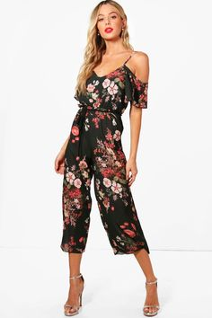 1d3059e16be4 Click here to find out about the Cold Shoulder Dark Floral Jumpsuit from  Boohoo, part
