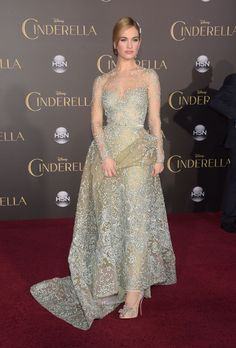 "Lily James in Elie Saab Couture at the premiere of Disney's ""Cinderella."""