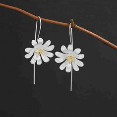 Earrings: Earrings Blooming Flower Flower Earrings, Dangle Earrings, Sterling Silver Flowers, Blooming Flowers, Love Valentines, Metal Stamping, Gifts For Women, Dangles, Fashion Jewelry