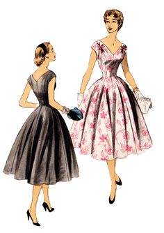 Advance 6700 Vintage 1950s Princess Seam Evening Dress Sewing Pattern by DRCRosePatterns on Etsy