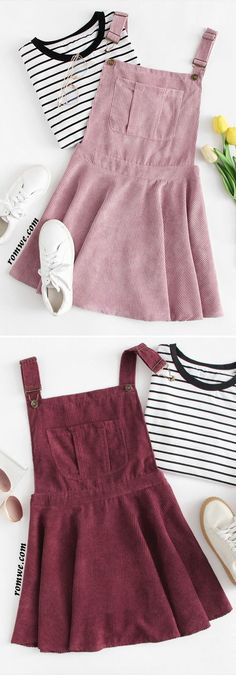 Pocket Front Zip Up Back Corduroy Pinafore Dress Pinafore Dress Outfit, Corduroy Pinafore Dress, Kids Fashion Summer, Outfit Summer, Spring Outfits, Disney Outfits, Girl Outfits, Dress Outfits, Casual Outfits