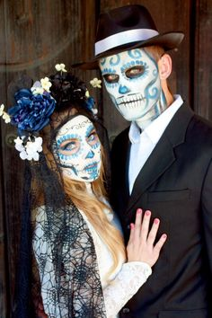 Day of the Dead couple. I love the makeup. More color and less black.