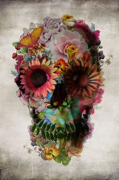 This Floral Skull wood sign by artist Ali Gulec adds a cool and unique element to your decor. Los Muertos Tattoo, Aquarell Tattoo, Totenkopf Tattoos, Capas Samsung, Sugar Skull Tattoos, Sugar Skulls, Candy Skulls, Photocollage, Tatoo Art