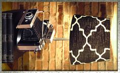 Steampunk Vintage Upcycled Polaroid 360 Land Camera w/ a Black & White Ikat Lamp Shade That's Re-purposed into a Camera Lamp by Loftyideas4u by Loftyideas4u on Etsy