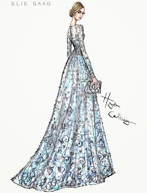 #Hayden Williams Fashion Illustrations: Lily James wearing ELIE SAAB Couture to the Cinderella premiere