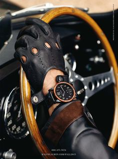 The burl wood bezel of the Ralph Lauren Automotive Watch is inspired by the steering wheel of Mr. Lauren's own vintage Bugatti Click bio link to read more from Mens Gloves, Leather Gloves, Leather Men, Gloves Fashion, Fashion Accessories, Biker Accessories, Ralph Lauren, Cool Watches, Watches For Men