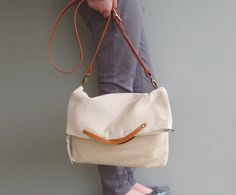 Modern Messenger Bag - Buttercream Crossbody Bag - Business Tote - Off White…
