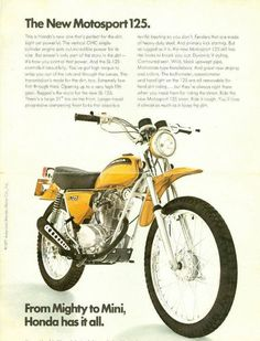 Life on two wheels. Classic Honda Motorcycles, Old School Motorcycles, Vintage Motorcycles, Enduro Motorcycle, Motorcycle Posters, Moto Bike, Retro Motorcycle, Honda Dirt Bike, Honda Bikes