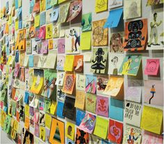 A post-it note art show - could be our bulletin board display for the Art Festival