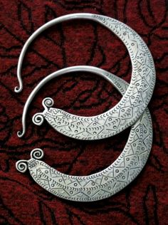 hmong necklace   Hmong (Miao) Tribal Jewelry Large Incised Hoop Earrings