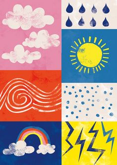 april weather, illustration, print, pattern, design, collage, texture
