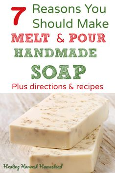 Can you make soap without using lye? It's called Melt & Pour handmade soap making. Find out why melt and pour is a great handmade soap making option, plus directions and 5 recipes! These make perfect quick and lovely presents to gift during the Soap Making Recipes, Homemade Soap Recipes, Soap Melt And Pour, How To Melt Soap, Make Soap, Soap Making Supplies, Shampoo Bar, Goat Milk Soap, Lotion Bars