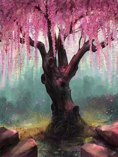 Cherry Blossom Tree Art Print featuring the digital art Ode To Spring by Steve Goad Cherry Blossom Tree, Blossom Trees, Cherry Tree, Art Asiatique, Tree Artwork, Tree Paintings, Guache, Spring Art, Spring Painting