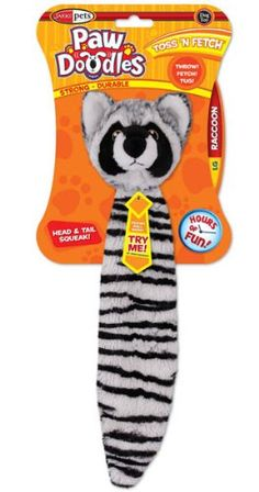 Pawdoodles Toss N Fetch Dog Toy Raccoon Large ** Details can be found by clicking on the affiliate link Amazon.com.