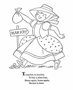 bluebonkers nursery rhymes coloring page sheets to market to market 3 mother goose