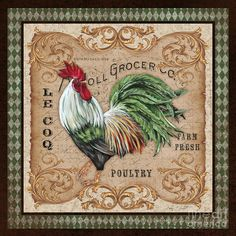 Old World Rooster-jp3058 Painting