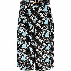 Blue tropical floral print culottes £32.00