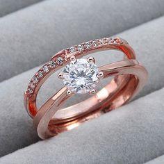 2pcs-Fashion-Rose-Gold-Plated-Round-Cut-Crystal-Women-Wedding-Engagement-Ring
