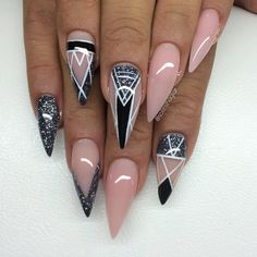 Almond shaped acrylic nails are a popular look and are often preferred by modern women. Unlike dangerous and sharp stiletto nails Sexy Nails, Hot Nails, Fancy Nails, Stiletto Nails, Hair And Nails, Fabulous Nails, Gorgeous Nails, Pretty Nails, Creative Nails
