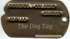 Carolina Girl Genealogy: The Dog Tag   Do you have treasured heirlooms? Remember to tell their story and take a photo. #genealogy #familyhistory #52ancestors