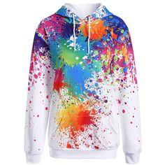 Plus Size Splatter Paint Pullover Hoodie (68 BRL) ❤ liked on Polyvore featuring tops, hoodies, hoodie pullover, sweater pullover, plus size tops, plus size hoodie pullover and hooded pullover