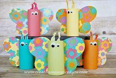 Toiletrol vlinder wc rol. Toilet paper butterfly. ATELIER CHERRY: Especial dia das crianças - Borboletas recicladas.