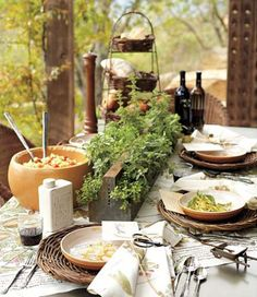 love the tiny wheel barrow salt cellars on this outdoor tablescape...#saltcellar