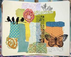 Fay - This example foucs on the  patterns and the elements through the collage of the different prints and paper sheets' samples and  clippings.