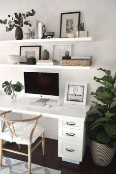 Trendy home office design decor style 66 Ideas Mesa Home Office, Home Office Space, Home Office Desks, Office Spaces, Work Spaces, Office Ideas For Home, Office Room Ideas, Office Workspace, Bureau Design