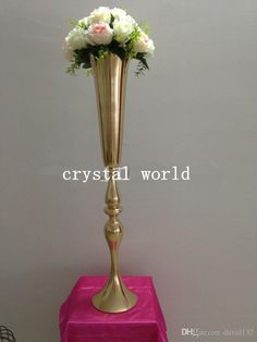 Cheap Tall Flower Vases Vase Centerpieces, Vases Decor, Wedding Toasting Glasses, Cheap Vases, Flower Vases, Flowers, Floor Decor, Vera Wang, Gold Wedding