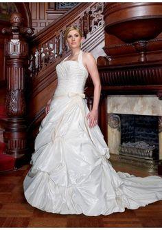 Halter Pleated A-line Taffeta Banded Plus Size Wedding Dress