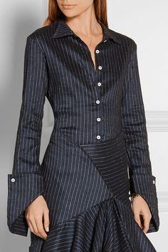 Rosie Assoulin   Pinstriped stretch linen-blend shirt   NET-A-PORTER.COM