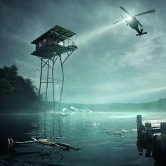 Olson Kundig(- amerikai erdei miniház tervezője) and Jack Daws imagine  a house on stilts above a polluted lake