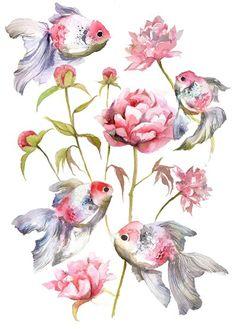 - Watercolor by Violeta Boyadzhieva - fish and flower pattern - Watercolor Fish, Watercolor Animals, Watercolor Illustration, Watercolor Flowers, Watercolor Paintings, Drawing Flowers, Fish Drawings, Art Drawings, Plant Drawing