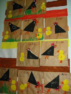 Farm theme/Chickens and Roosters Easter Activities, Spring Activities, Creative Activities, Classroom Crafts, Preschool Crafts, Kindergarten Art Projects, Farm Art, Chicken Art, Spring Projects