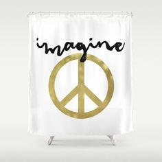 Attractive Gold Shower Curtain, Imagine Shower Curtain, Peace Sign, Modern Shower  Curtain, Standard Or Extra Long Shower Curtain, Teen Room Decor