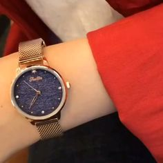 Cool Watches For Women, Cute Watches, Luxury Watches, Rolex Watches, Beautiful Watches, Fashion Watches, Gold Watch, Mesh, Simple