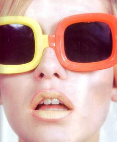 Now here's a color inspiration from the 60s! Two toned lips and glasses - Could you rock that?
