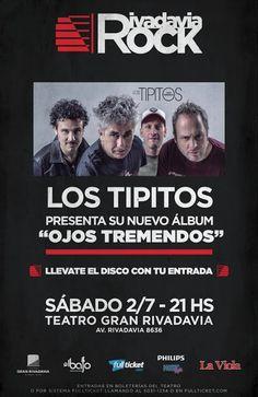 """#RivadaviaRock Los Tipitos Fito Paéz Catupecu Miranda Barilari y Jaf   Lanzamiento Oficial de Ojos Tremendos  SÁBADO 02 DE JULIO  Anticipadas por http://ift.tt/1Uw7mZ7  Con la compra de tu entrada te llevás el nuevo CD """"Ojos Tremendos"""" de regalo.  Los CD's se retiran en el Teatro Gran Rivadavia (Av. Rivadavia 8636) y en Florida 948 (Locales 7 y 10).  Los Tipitos presentan OJOS TREMENDOS el disco número 13 en su carrera esta vez ya con un productor externo a la banda: Michel Peyronel (RIFF)…"""