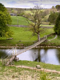 UK: The suspension bridge at Hebden was built in 1884 by the village blacksmith William Bell.