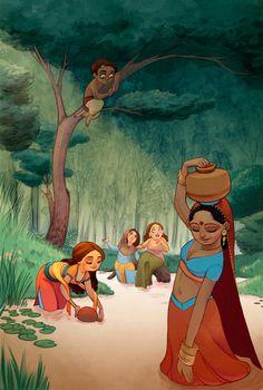 The Art Of Animation, Maitane Egurza Art Drawings For Kids, Cartoon Drawings, Cartoon Art, Timberwolf, Indian Illustration, Indian Folk Art, Indian Artist, India Art, Indian Art Paintings