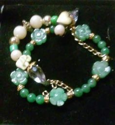 Health & Wealth bracelet Aquamarine, Jade, Fresh water Pearls $65