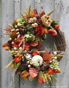 Newport Autumn Garden Wreath  ~A New England Wreath Company Designer Original~