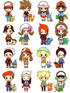 Chibi Pokemon trainers from various Poke'mon games. I love all of their express… Chibi Pokemon trainers from various Poke'mon games. Mega Pokemon, Pokemon Pins, Pokemon Games, Black Pokemon, Anime Chibi, Pokemon Original, Gijinka Pokemon, Pokemon Bulbasaur, Pokemon Special