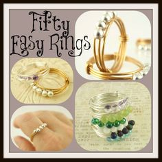 Jewelry Making Ideas Fifty Easy Rings Tutorial - Finger Rings - Fast and Easy Diy Jewelry Rings, Metal Jewelry, Jewelry Crafts, Beaded Jewelry, Diy Beaded Rings, Gold Jewelry, Diy Jewelry Projects, Jewelry Tools, Glass Jewelry